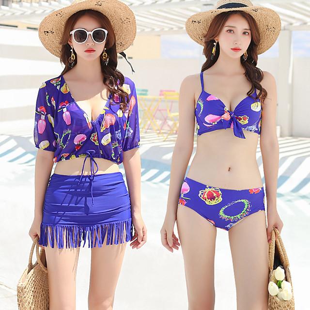 Women's Tankini Elastane Swimwear UV Sun Protection Breathable Quick Dry Half Sleeve 4-Piece - Swimming Summer / High Elasticity