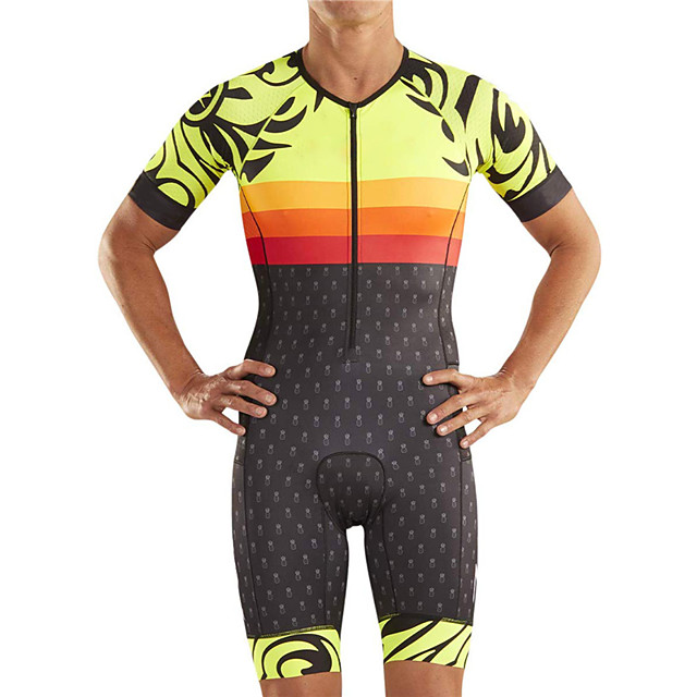 21Grams Men's Short Sleeve Triathlon Tri Suit Polyester Spandex Black / Yellow Polka Dot Geometic Bike Clothing Suit UV Resistant Breathable 3D Pad Quick Dry Sweat-wicking Sports Polka Dot Mountain