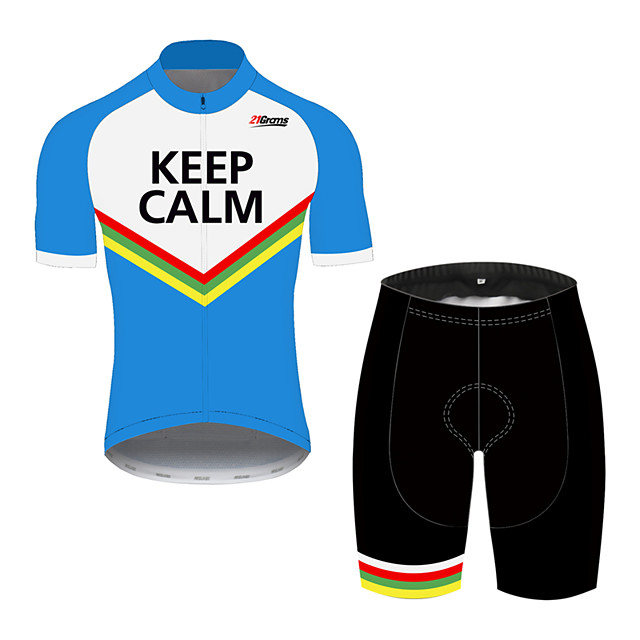 21Grams Men's Short Sleeve Cycling Jersey with Shorts Black / Blue Stripes Bike Clothing Suit UV Resistant Breathable 3D Pad Quick Dry Sweat-wicking Sports Stripes Mountain Bike MTB Road Bike Cycling