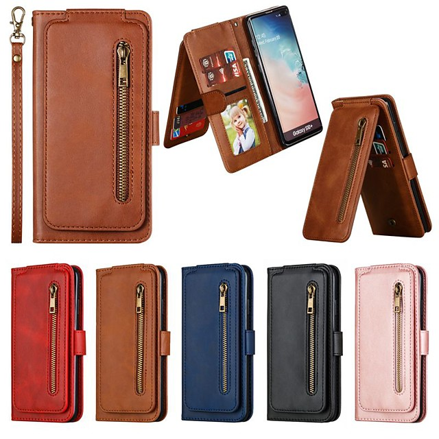 Case For Samsung Galaxy S10E(S10 Lite) / S10 Plus / S9 Plus Wallet / Card Holder / Shockproof Full Body Cases Solid Colored PU Leather Case For Samsung Galaxy S7 Edge / S8 Plus / S10 / S9 / S8