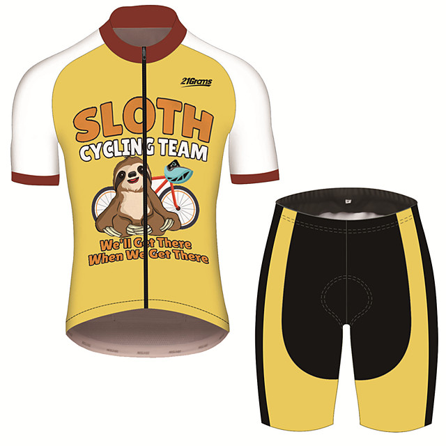 21Grams Men's Short Sleeve Cycling Jersey with Shorts Black / Yellow Animal Sloth Bike Clothing Suit UV Resistant Breathable 3D Pad Quick Dry Sweat-wicking Sports Animal Mountain Bike MTB Road Bike