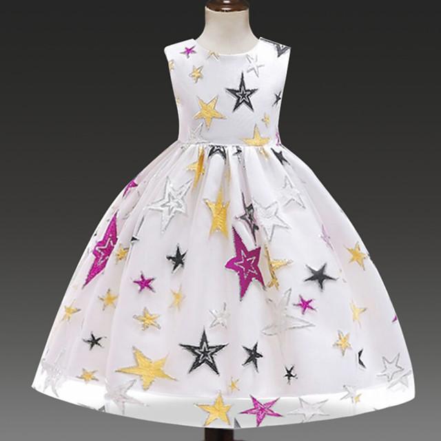 Princess Dress Flower Girl Dress Girls' Movie Cosplay A-Line Slip Cosplay White / Black Dress Halloween Carnival Masquerade Polyester