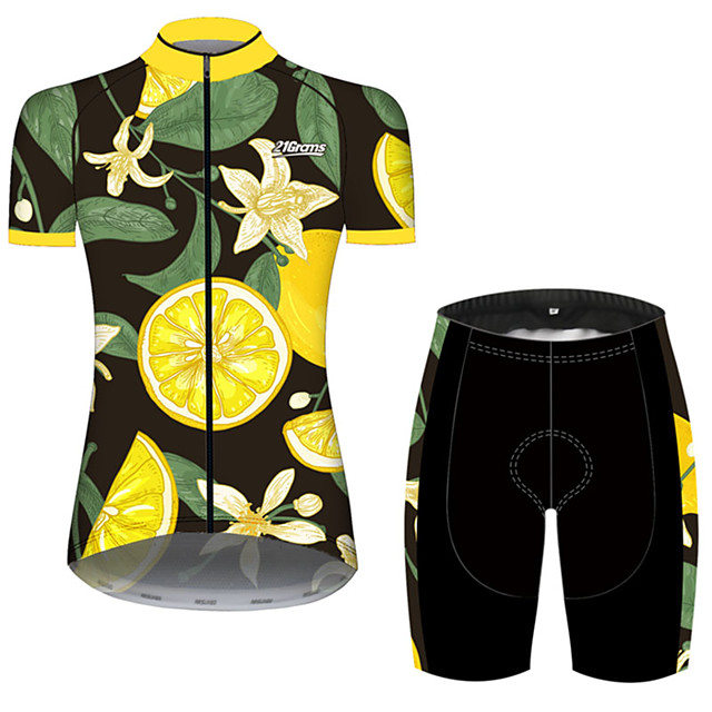 21Grams Women's Short Sleeve Cycling Jersey with Shorts Green / Yellow Floral Botanical Fruit Lemon Bike Clothing Suit Breathable 3D Pad Quick Dry Ultraviolet Resistant Sweat-wicking Sports Floral
