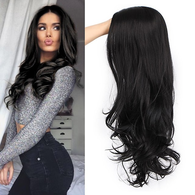 Synthetic Wig Curly Body Wave Halloween Asymmetrical Wig Long Natural Black Synthetic Hair 22 inch Women's Best Quality Black