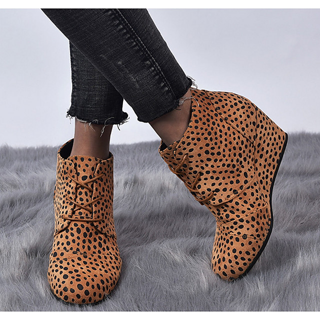 Women's Boots Wedge Heel Round Toe PU Spring & Summer Black / Yellow / Gray