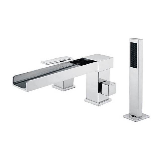 Bathtub Faucet -3 Holes Waterfall Bathtub Mixer Tap Chrome Bathroom Shower Faucet