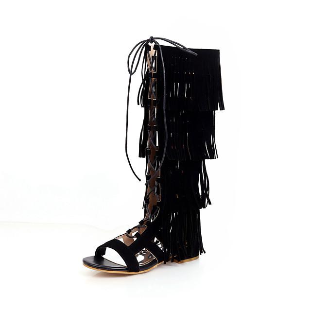 Women's Boots Flat Heel Open Toe Tassel Microfiber Knee High Boots Casual / Preppy Spring & Summer Black / Brown