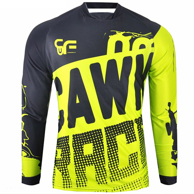 CAWANFLY Men's Long Sleeve Cycling Jersey Downhill Jersey Dirt Bike Jersey Winter Polyester Black Patchwork Novelty Bike Jersey Top Mountain Bike MTB Breathable Quick Dry Sweat-wicking Sports