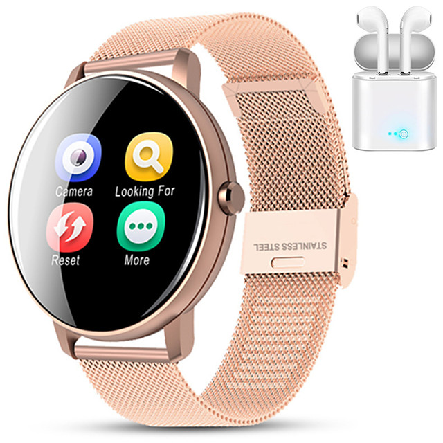 Indear M9  Women Smart Bracelet Smartwatch BT Fitness Equipment Monitor Waterproof with TWS Bluetooth Wireless Headphones Music Headphones for Android Samsung/Huawei/Xiaomi iOS Mobile Phone