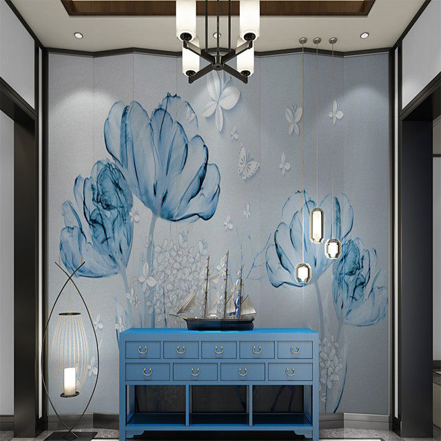 Custom self-adhesive mural wallpaper blue flower is suitable for bedroom living room  coffee shop  restaurant hotel wall decoration art Room Wallcovering