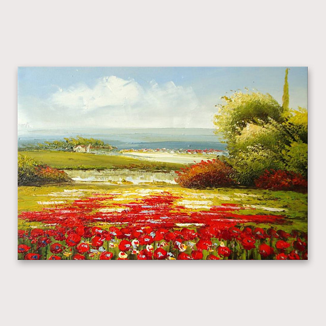 IARTS®Hand Painted Beautiful red field Oil Painting   with Stretched Frame For Home Decoration