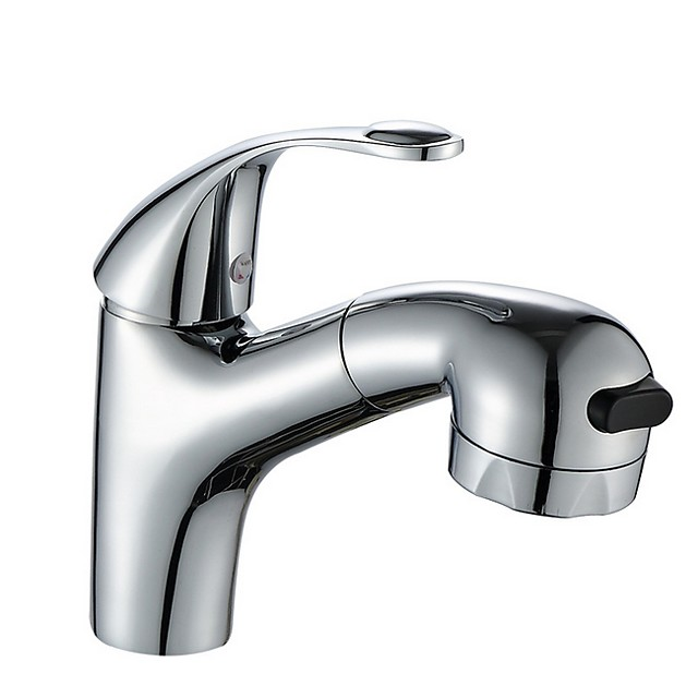 Bathroom Sink Faucet - Pullout Spray / Widespread Electroplated Centerset Single Handle One HoleBath Taps