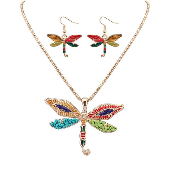 Women's Jewelry Set Dragonfly Cute Resin Earrings Jewelry Gold For Festival