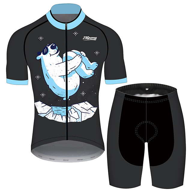 21Grams Men's Short Sleeve Cycling Jersey with Shorts Black / Blue Animal Bike Clothing Suit UV Resistant Breathable 3D Pad Quick Dry Sweat-wicking Sports Solid Color Mountain Bike MTB Road Bike