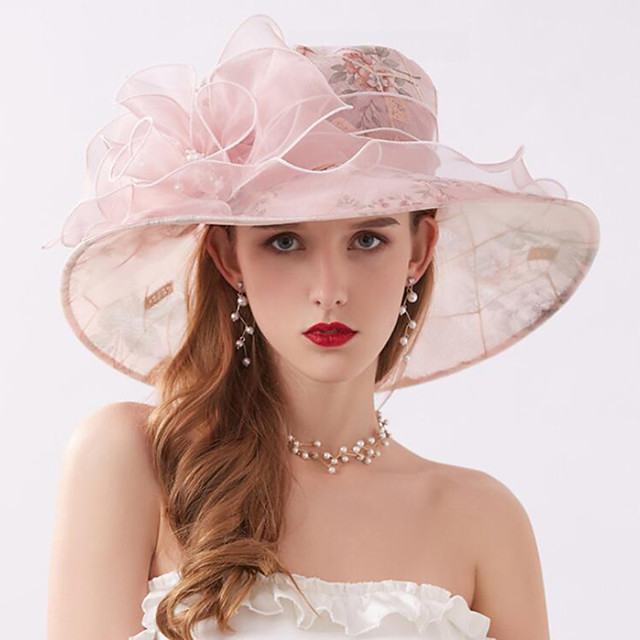 Vintage Style Fashion Tulle / Organza Hats / Headwear with Bowknot / Printing / Flower 1 Piece Wedding / Outdoor Headpiece