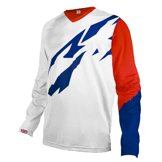 21Grams Men's Long Sleeve Cycling Jersey Downhill Jersey Dirt Bike Jersey Polyester Spandex Red / White Red+Blue Bike Jersey Top Mountain Bike MTB Road Bike Cycling UV Resistant Breathable Quick Dry