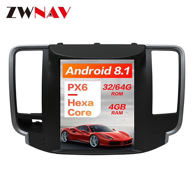 ZWNAV 10.4 inch 1Din Android 8.1 4GB 64GB DSP PX6 Tesla Car DVD Player GPS Navigation Car multimedia Player tape recorder For NISSAN Teana 2008-2011
