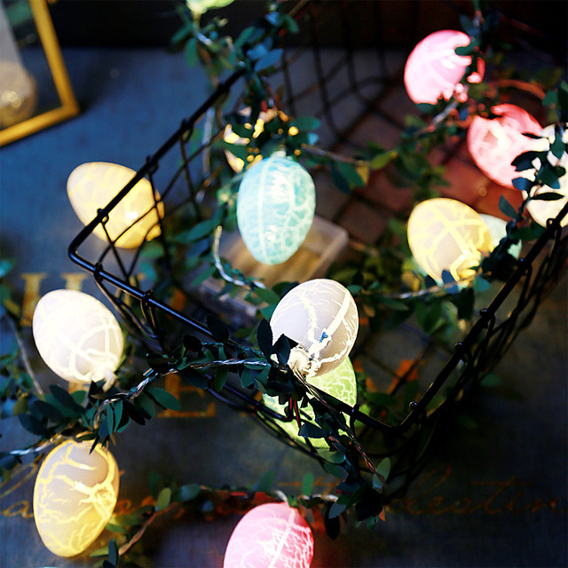 Easter Egg Shaped String Lights and Rattan Colorful Party Decoration Lighting 2.5M 20 Lights-without Battery