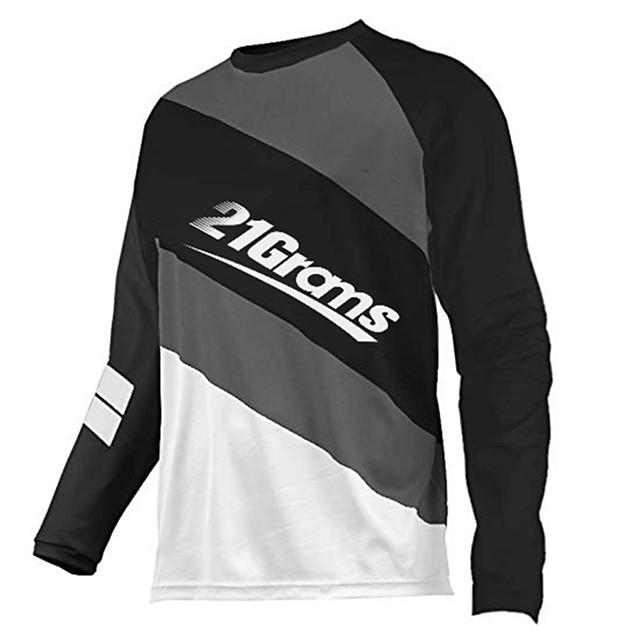 21Grams Men's Long Sleeve Cycling Jersey Downhill Jersey Dirt Bike Jersey Polyester Spandex Red / White Black / White Stripes Bike Jersey Top Mountain Bike MTB Road Bike Cycling UV Resistant