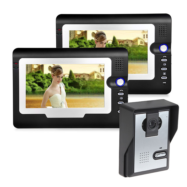 Wired 7 Inch Hands-free 800*480 Pixel One To Two Video Doorphone