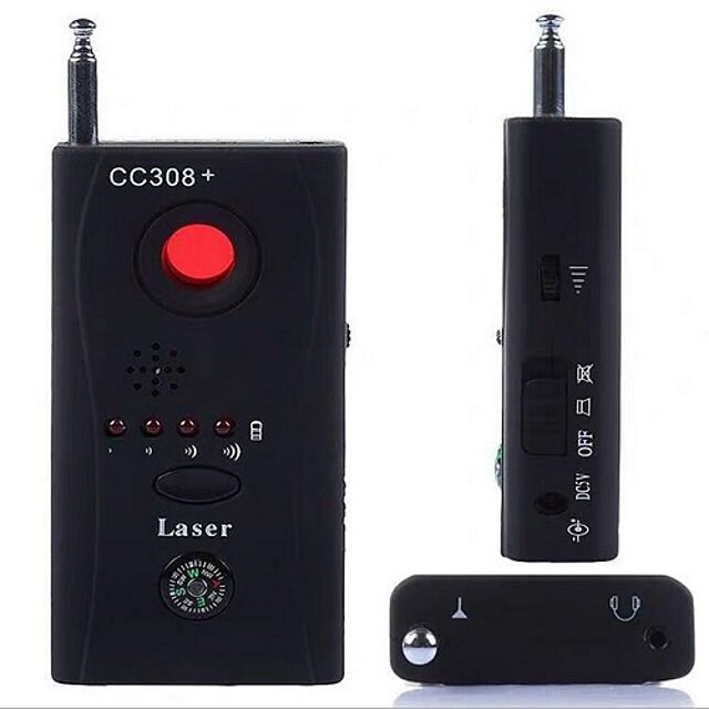 Anti-Spy RF Signal Bug Detector Hidden Camera Laser Lens GSM Device Finder - Mute Vibration  Beep  LED indicator  Earphone and Charger included