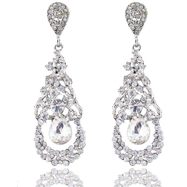 Women's Drop Earrings Dangle Earrings Pear Cut Drop Fashion Elegant Earrings Jewelry Silver For Wedding Party Anniversary Prom 1 Pair