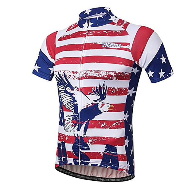 21Grams Men's Short Sleeve Cycling Jersey Red+Blue American / USA Eagle National Flag Bike Jersey Top Mountain Bike MTB Road Bike Cycling UV Resistant Breathable Quick Dry Sports Clothing Apparel