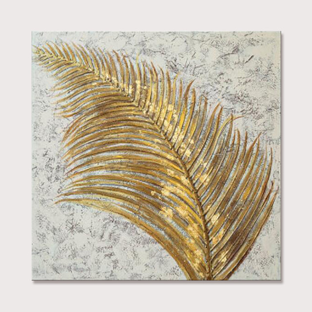 Mintura Hand Painted Golden Leaves Oil Paintings On Canvas Modern Abstract Pop Art Wall Picture For Home Decoration Ready To Hang