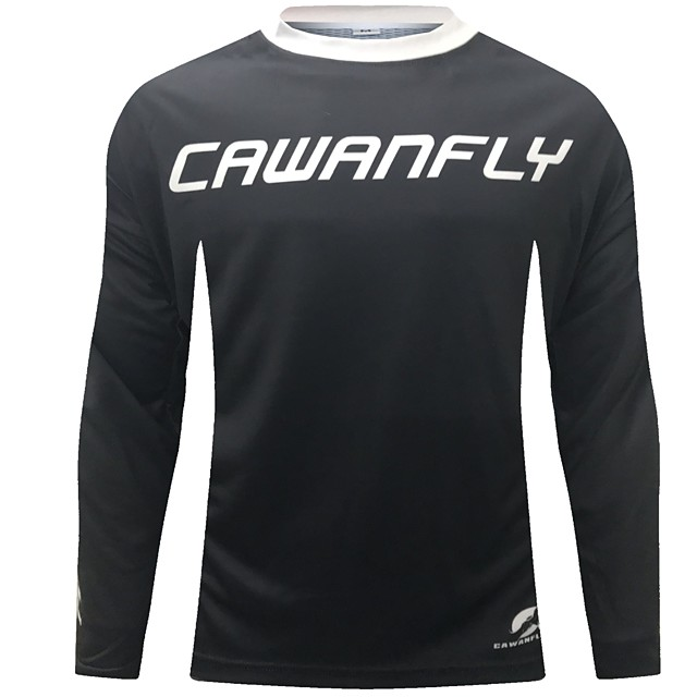 CAWANFLY Men's Long Sleeve Cycling Jersey Downhill Jersey Dirt Bike Jersey Winter Polyester Black Novelty Bike Jersey Top Mountain Bike MTB Breathable Quick Dry Sweat-wicking Sports Clothing Apparel