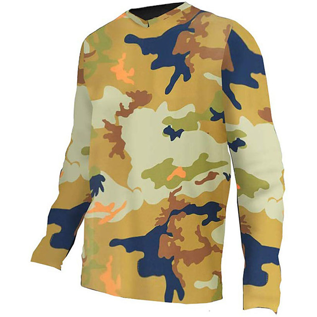 21Grams Men's Long Sleeve Cycling Jersey Downhill Jersey Dirt Bike Jersey Polyester Spandex Yellow Camo / Camouflage Bike Jersey Top Mountain Bike MTB Road Bike Cycling UV Resistant Breathable Quick