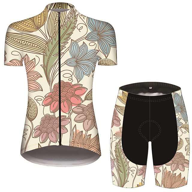 21Grams Women's Short Sleeve Cycling Jersey with Shorts Black / Yellow Leaf Floral Botanical Bike Clothing Suit Breathable 3D Pad Quick Dry Ultraviolet Resistant Sweat-wicking Sports Leaf Mountain
