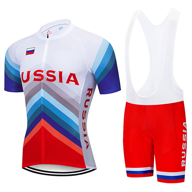 21Grams Men's Short Sleeve Cycling Jersey with Bib Shorts Blue / White Russia National Flag Bike Clothing Suit UV Resistant Breathable 3D Pad Quick Dry Sweat-wicking Sports Letter & Number Mountain