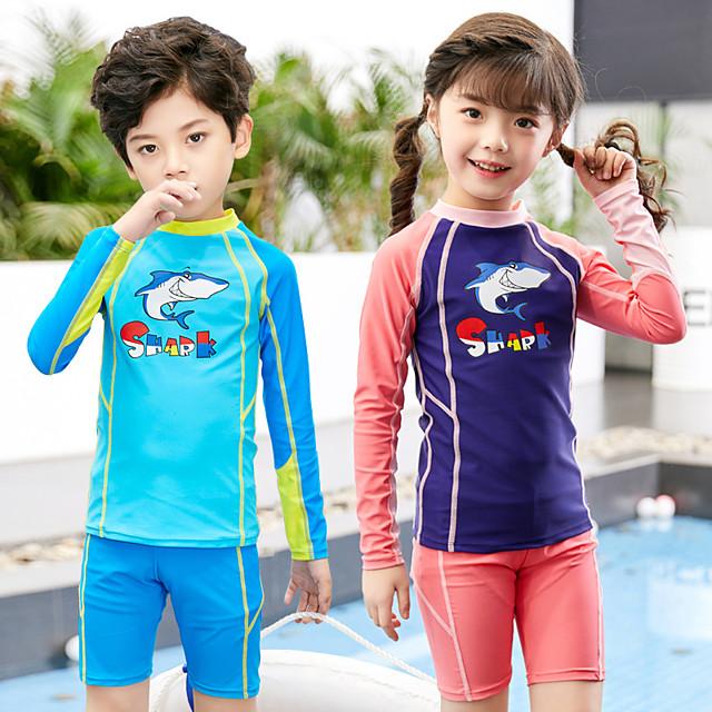 Boys' Girls' Rashguard Swimsuit Two Piece Swimsuit Elastane Swimwear UV Sun Protection Breathable Quick Dry Long Sleeve Swimming Water Sports Patchwork Summer / High Elasticity / Kid's