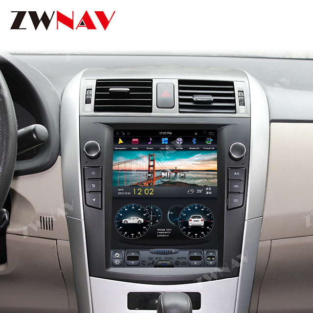 ZWNAV 10.4inch 1din 4GB 64GB Android 8.1 Tesla style IPS Car DVD Player GPS Navigation stereo radio tape recorder car multimedia player For Toyota Corolla 2007-2013