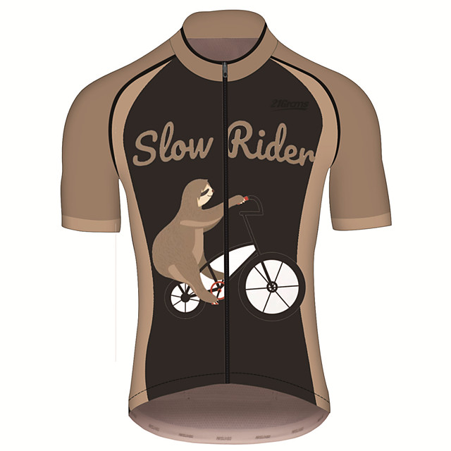 21Grams Men's Short Sleeve Cycling Jersey Brown+Gray Animal Sloth Bike Jersey Top Mountain Bike MTB Road Bike Cycling UV Resistant Breathable Quick Dry Sports Clothing Apparel / Stretchy / Race Fit