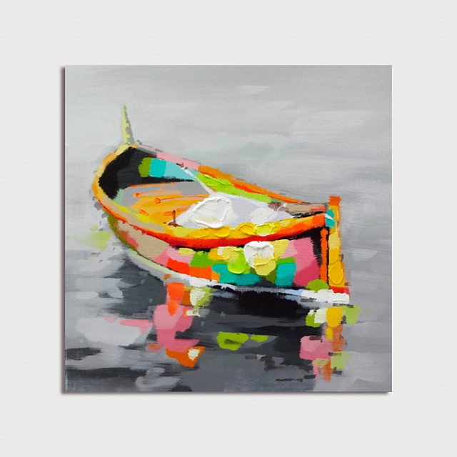 Hand Painted Canvas Oilpainting Abstract Boat by Knife Home Decoration with Frame Painting Ready to Hang