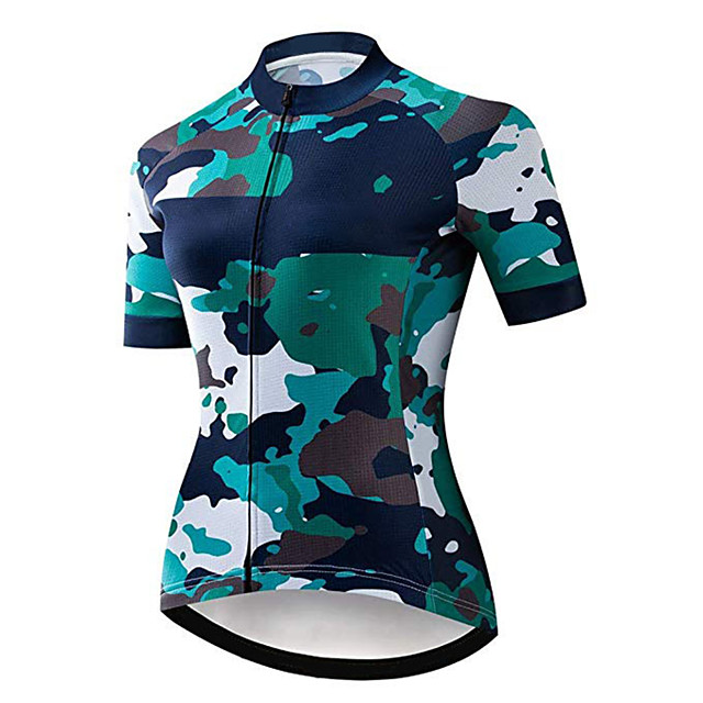 21Grams Women's Short Sleeve Cycling Jersey Blue Camo / Camouflage Bike Jersey Top Mountain Bike MTB Road Bike Cycling UV Resistant Breathable Quick Dry Sports Clothing Apparel / Stretchy / Race Fit