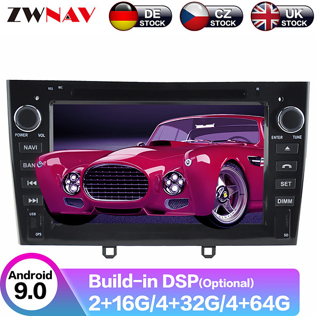 ZWNAV 7inch 2din Android 9.0 4GB 64GB Car DVD Player Car MP5 Player GPS navigation car Multimedia Player radio tape recorder auto stereo HD For Peugeot 308 408