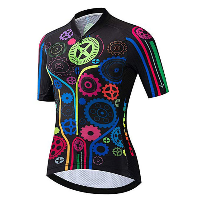 21Grams Women's Short Sleeve Cycling Jersey Black / Red Gear Bike Jersey Top Mountain Bike MTB Road Bike Cycling UV Resistant Breathable Quick Dry Sports Clothing Apparel / Stretchy / Race Fit