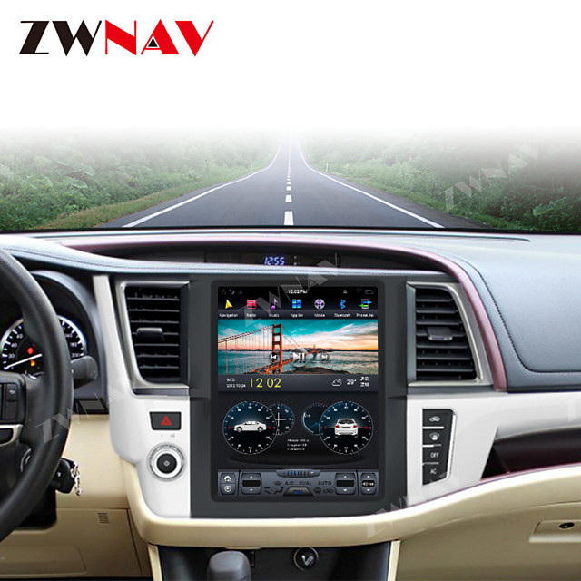 ZWNAV 12.1 Inch 1DIN Android 8.1 4GB 64GB Tesla style Car GPS Navigation Car MP5 Player Recorder stereo Car multimedia Player For Toyota Highlander 2014-2018