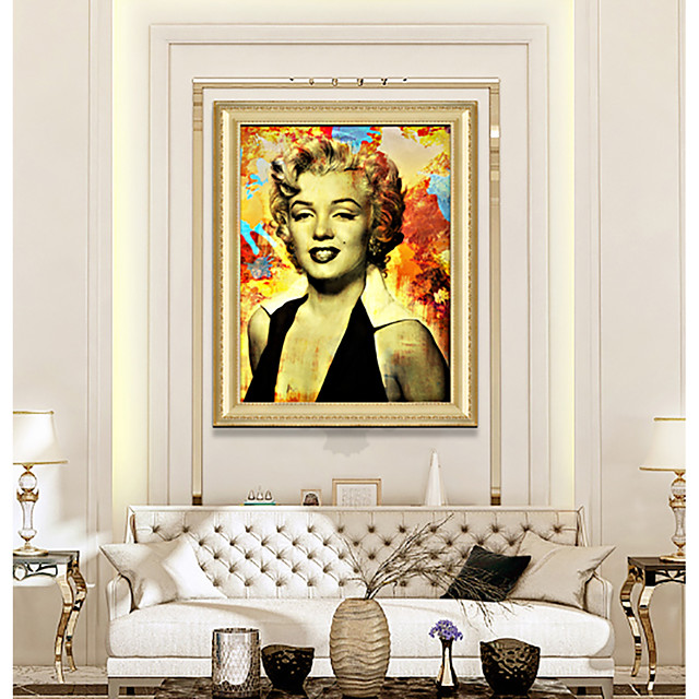 Framed Art Print Ready To Hang Marilyn Monroe Color Poster PS Oil Painting Wall Bedroom Bedside People Art Hotel Hanging Pictures