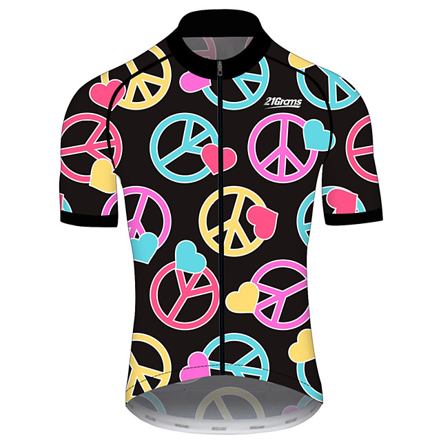 21Grams Men's Women's Short Sleeve Cycling Jersey Black / Yellow Bike Jersey Top Mountain Bike MTB Road Bike Cycling UV Resistant Breathable Quick Dry Sports Clothing Apparel / Stretchy / Race Fit
