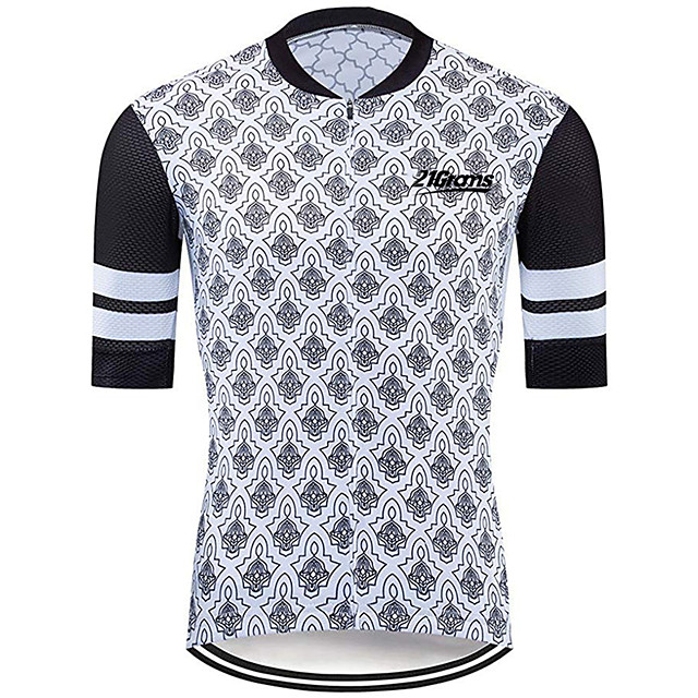 21Grams Men's Short Sleeve Cycling Jersey Black / White Plaid / Checkered Bike Jersey Top Mountain Bike MTB Road Bike Cycling UV Resistant Breathable Quick Dry Sports Clothing Apparel / Stretchy