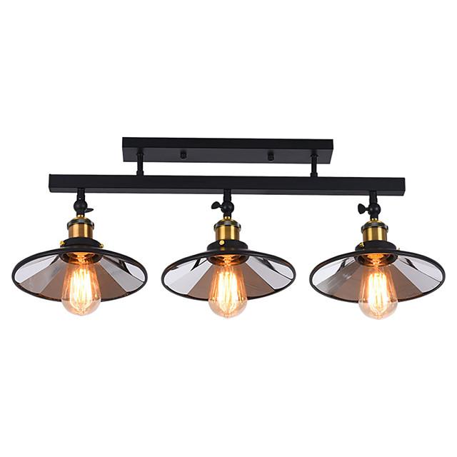 American Country Vintage Loft Ceiling Lamp Semi-Flushmount Light Direction Adjustable 3-Head Metal Mirror Living Room Dining Room