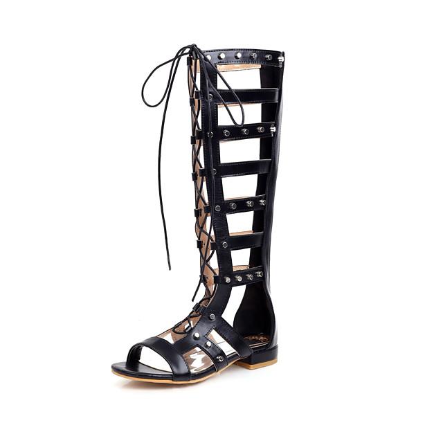 Women's Boots Flat Heel Open Toe Rivet Microfiber Knee High Boots Casual / Preppy Spring & Summer Black / Brown