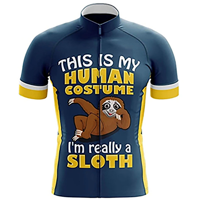21Grams Men's Short Sleeve Cycling Jersey Blue+Yellow Animal Sloth Bike Jersey Top Mountain Bike MTB Road Bike Cycling UV Resistant Breathable Quick Dry Sports Clothing Apparel / Stretchy / Race Fit