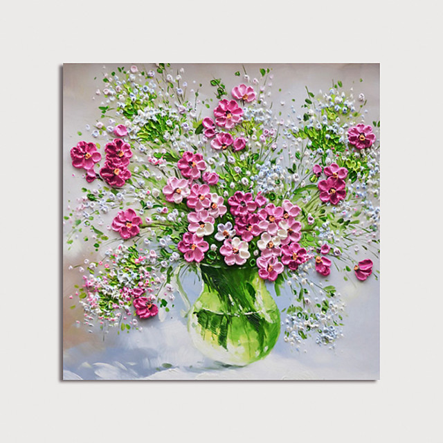 Hand Painted Canvas Oilpainting Abstract Flowers in Vase by Knife Home Decoration with Frame Painting Ready to Hang