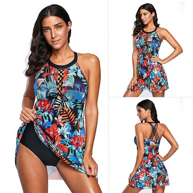 Women's One Piece Swimsuit Padded Swimwear Swimwear Blue UV Sun Protection Breathable Quick Dry Sleeveless - Swimming Water Sports Summer / Elastane / High Elasticity