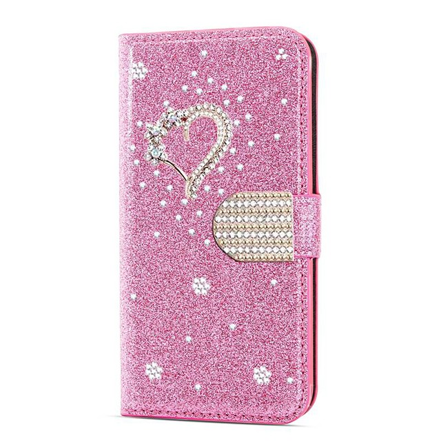 Case For Samsung Galaxy A51 M40S  A71 Wallet  Shockproof Heart Diamond Glitter PU Leather Case For Samsung S20 Plus S20 Ultra A20e A50s A30s A10 A60  A70 A80 S10E S10 5G  S10 Plus  Note 10 Plus Note 2