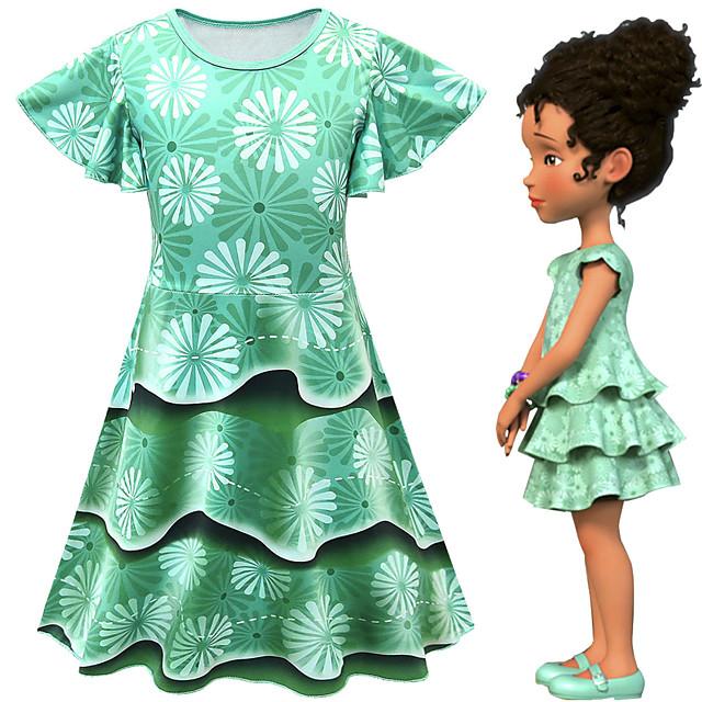 Fancy Nancy Dress Cosplay Costume Girls' Movie Cosplay Cosplay Costume Party Green Dress Polyster